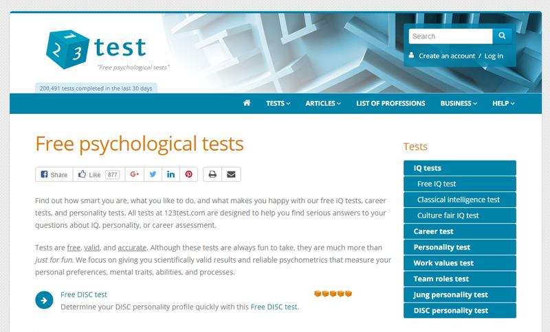 123 Test: Free Psychological Tests